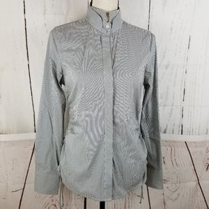 BCBG Maxazria Button Up Shirt Sz S White Gray